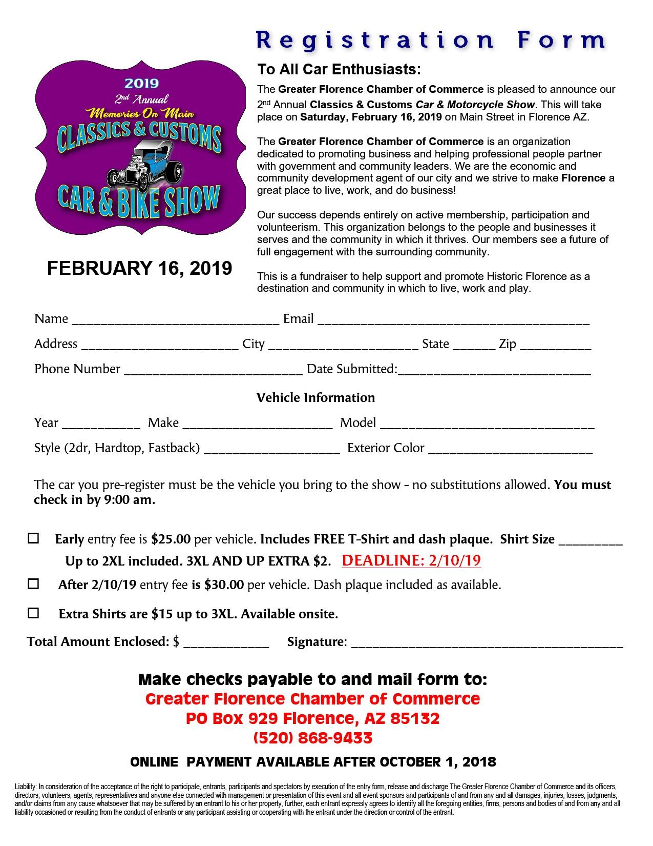 Florence AZ Car Show registration form (image)