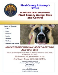 Pinal County Animal Care and Control Donation Drive @ Pinal County Attorney's Office | Florence | Arizona | United States