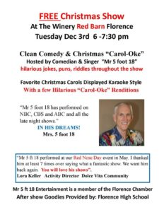"Clean Comedy and Christmas ""Carol-oke"" @ Windmill Winery 