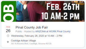 Pinal County Job Fair sponsored by Arizona@work @ Coolidge Artisan Village | Coolidge | Arizona | United States