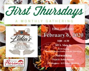 February FIRST Thursdays Mixer @ Lidia's Old Pueblo Cocina | Florence | Arizona | United States